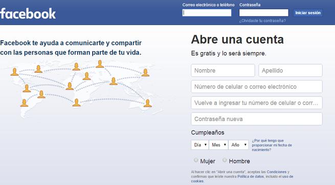 Pagina tradicional de facebook para iniciar sesion