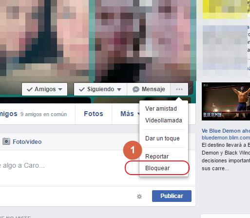 Bloquear a una persona en facebook desde la PC