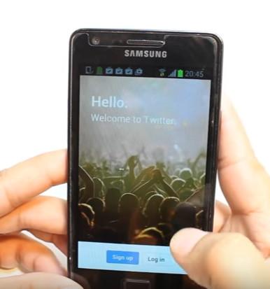 app de twitter en smartphone samsung