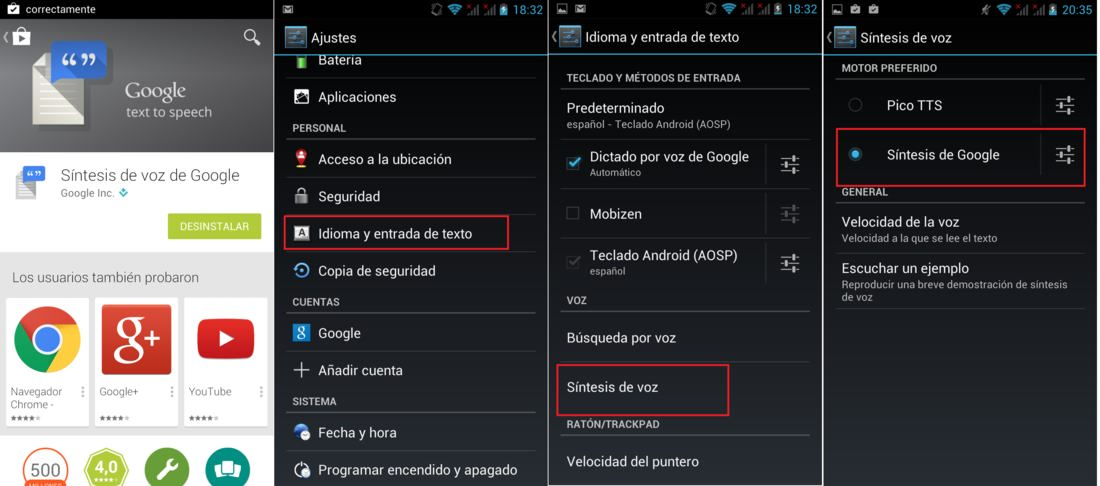 app de Sintesis De Voz De Google