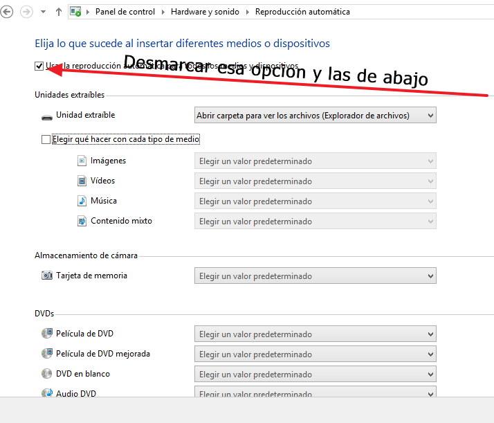 desactivar la reproducción automática en windows