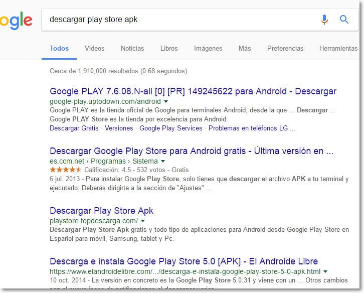 descargar google play store para android gratis ultima version