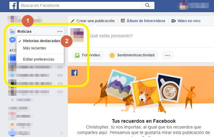 configurar principal de inicio de facebook
