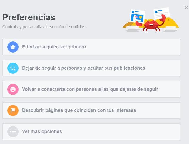 preferencias de facebook