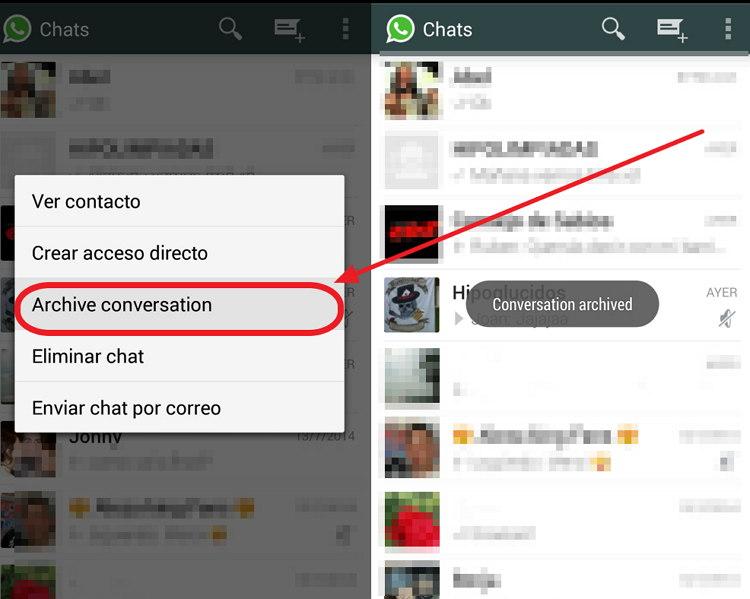 Cómo ocultar conversaciones en WhatsApp