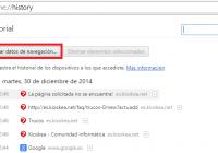 Como eliminar el historial de navegación en Chrome