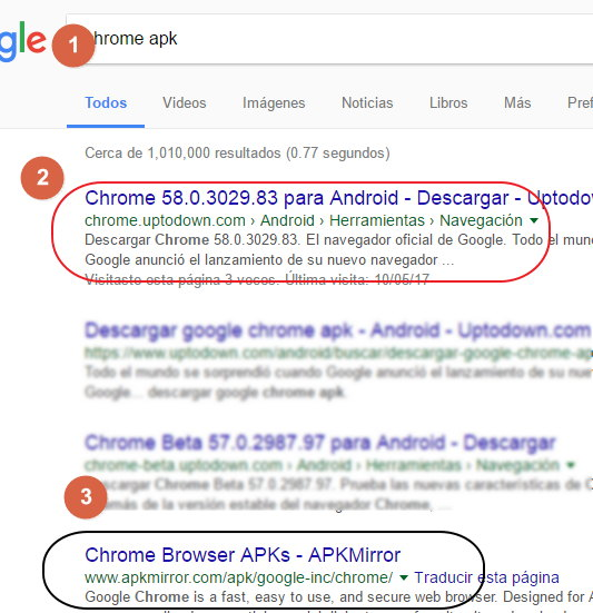 descargar ultima version de google chrome para android