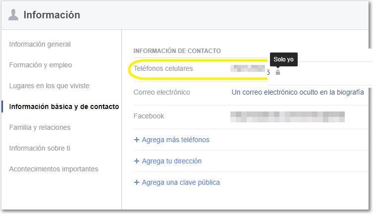 ocultar numero de celular facebook