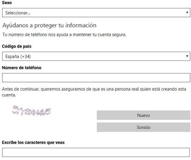 Registrarse en Outlook paso 2