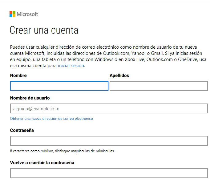 Registrarse en Outlook